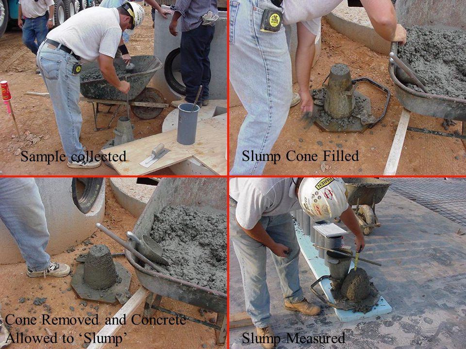 Sample collected Slump Cone Filled Cone Removed and Concrete Allowed to 'Slump' Slump Measured