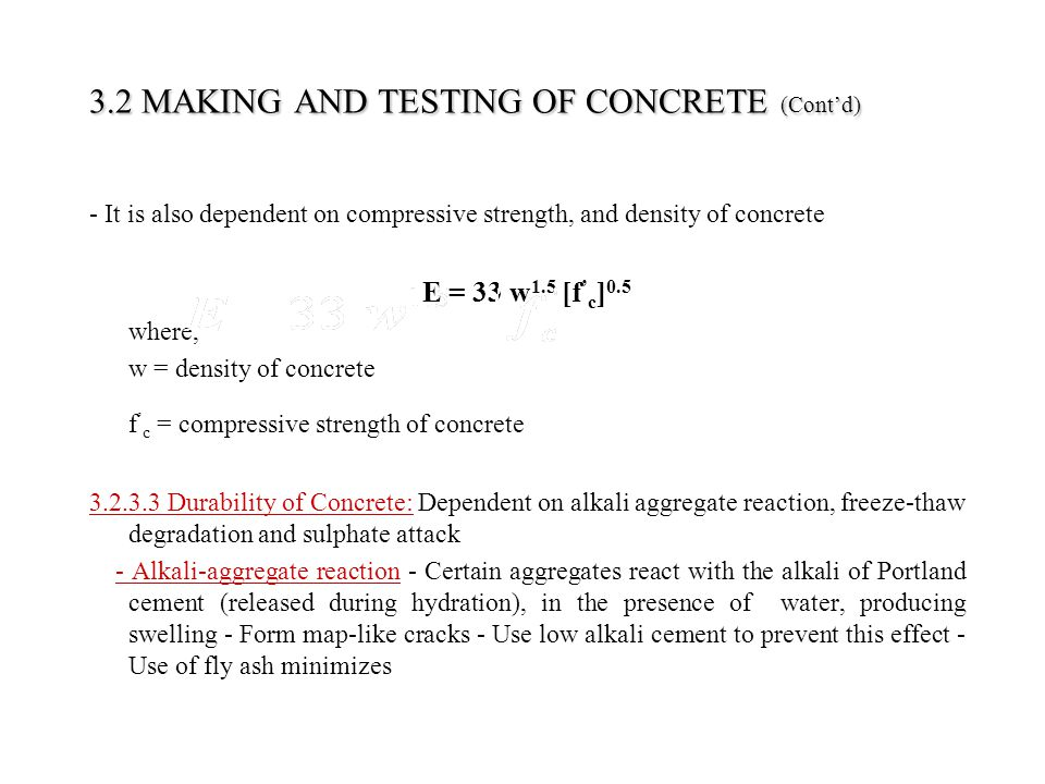 3.2 MAKING AND TESTING OF CONCRETE (Cont'd)