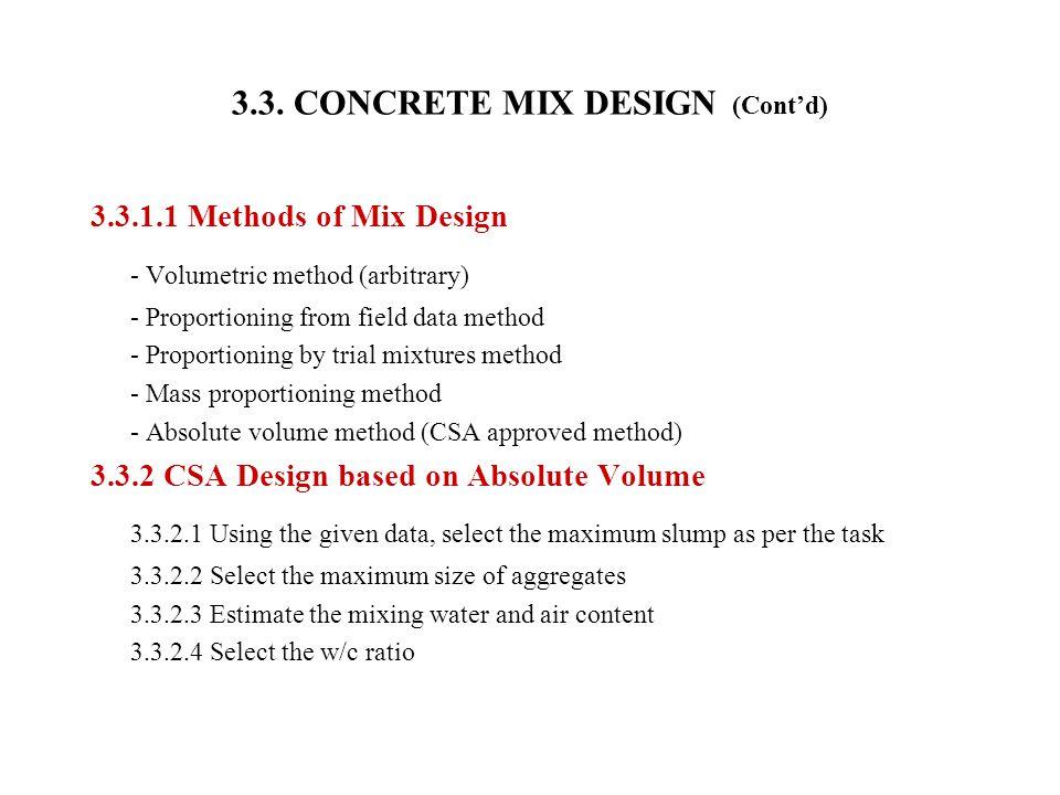 3.3. CONCRETE MIX DESIGN (Cont'd)