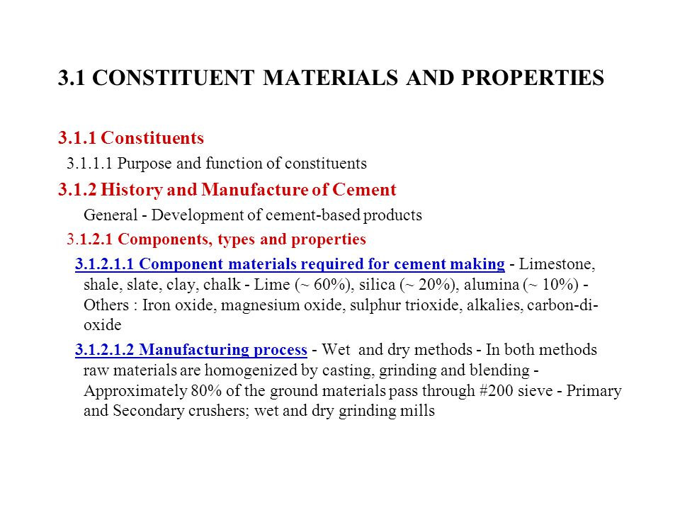 the constituent materials of concrete essay Throughout history, the use of concrete as a building material has contributed significantly to the built environment enduring examples of various forms.