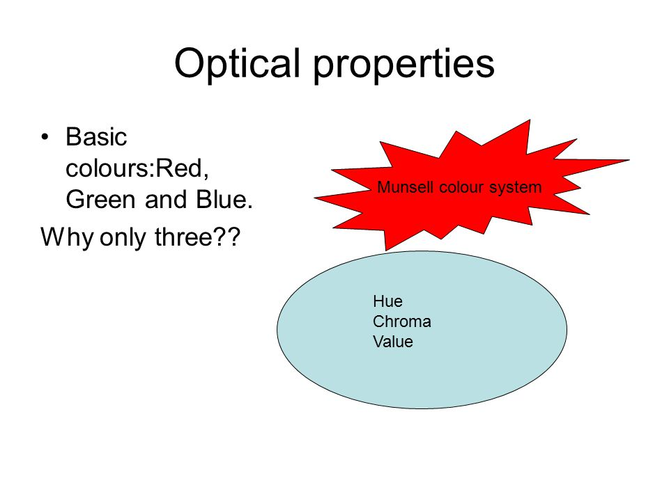 Optical properties Basic colours:Red, Green and Blue. Why only three