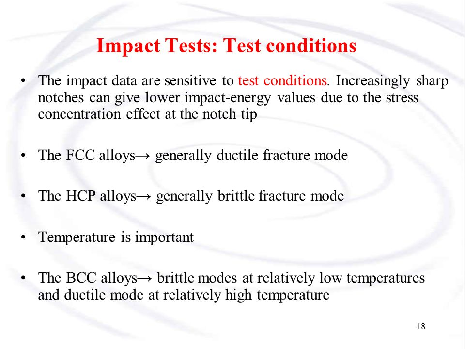Impact Tests: Test conditions