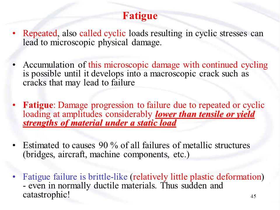 Fatigue Repeated, also called cyclic loads resulting in cyclic stresses can lead to microscopic physical damage.