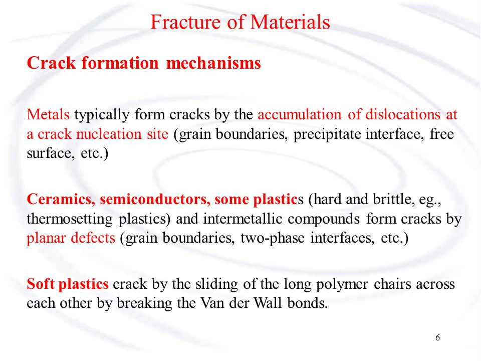 Fracture of Materials Crack formation mechanisms