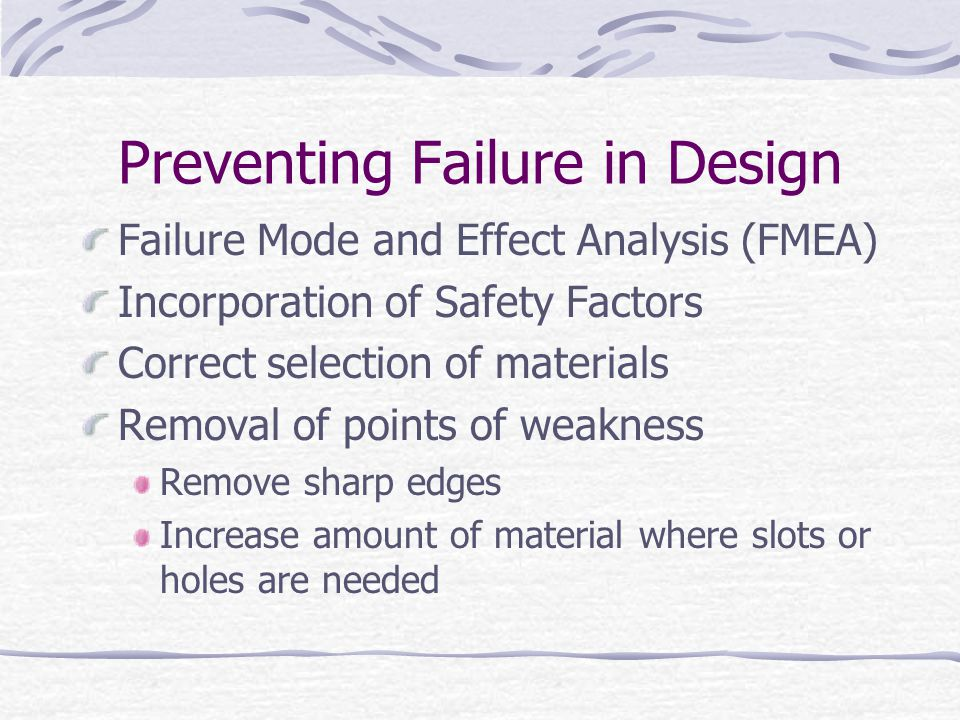 Preventing Failure in Design