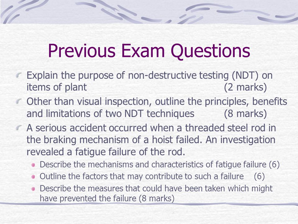 Previous Exam Questions