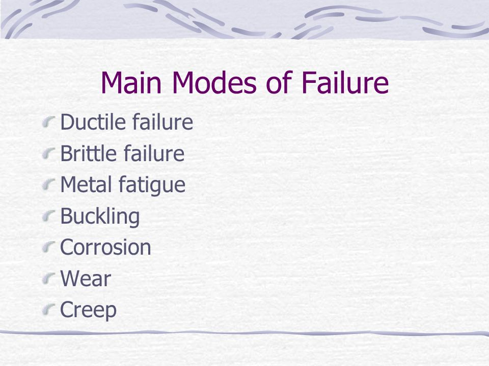 Main Modes of Failure Ductile failure Brittle failure Metal fatigue