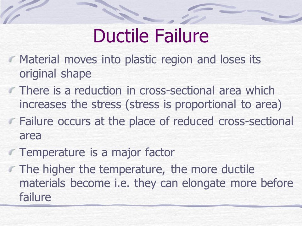 Ductile Failure Material moves into plastic region and loses its original shape.