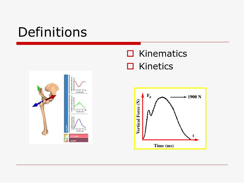 Definitions Kinematics Kinetics