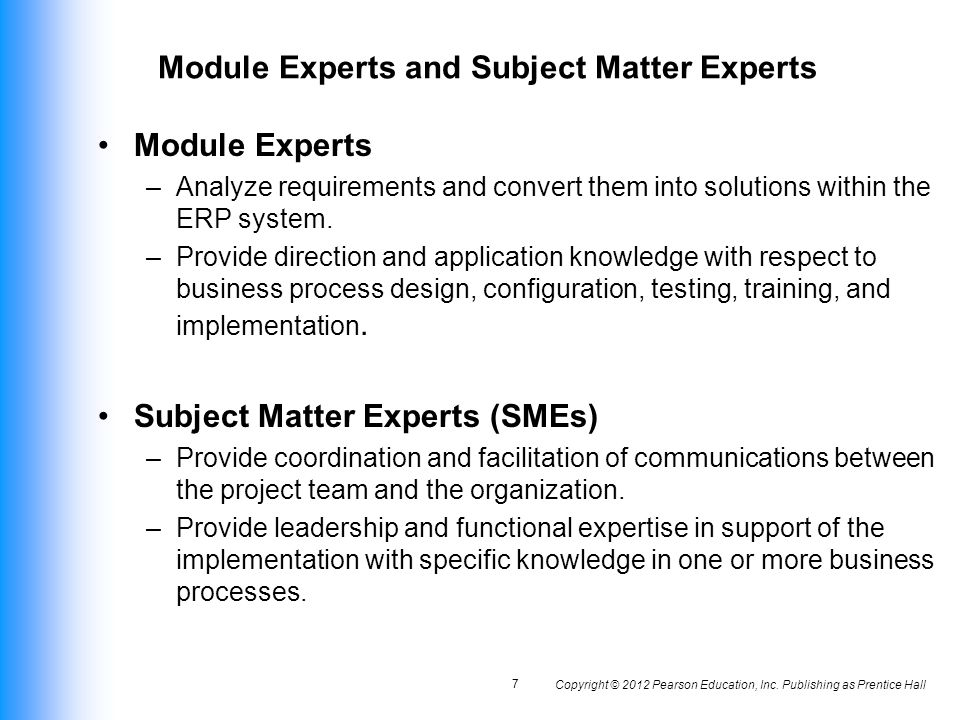 Module Experts and Subject Matter Experts