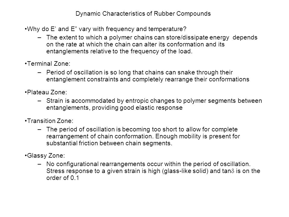 Dynamic Characteristics of Rubber Compounds