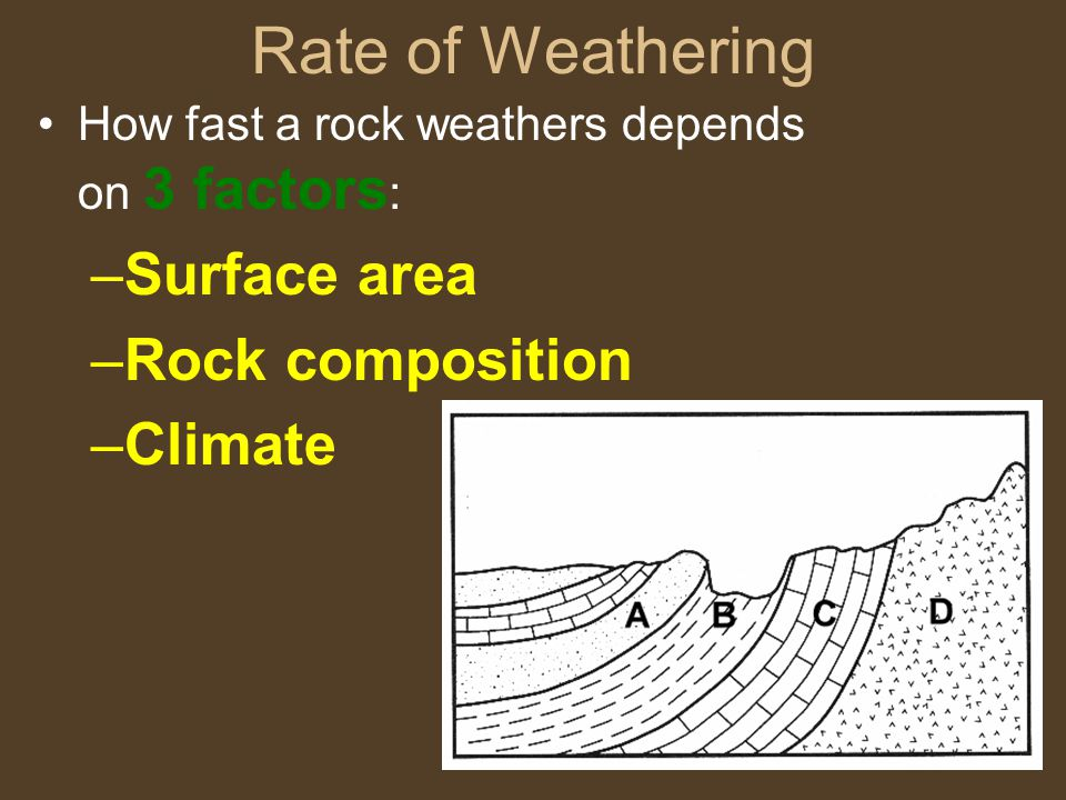 Rate of Weathering Surface area Rock composition Climate
