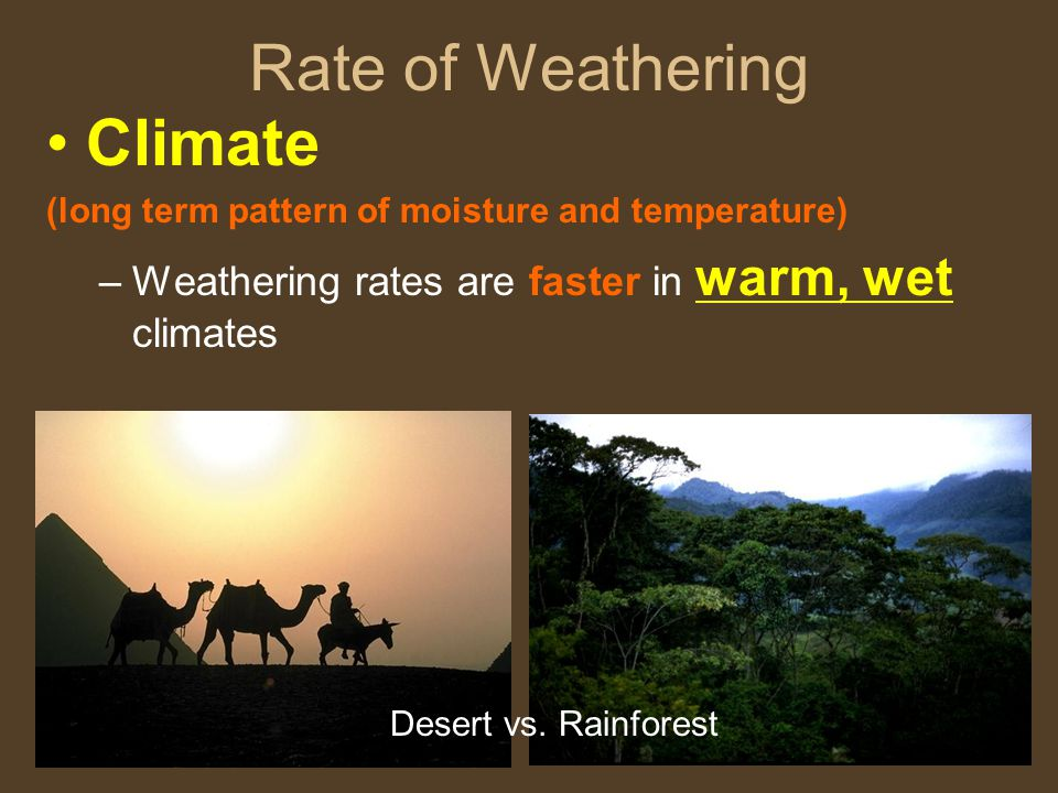 Rate of Weathering Climate