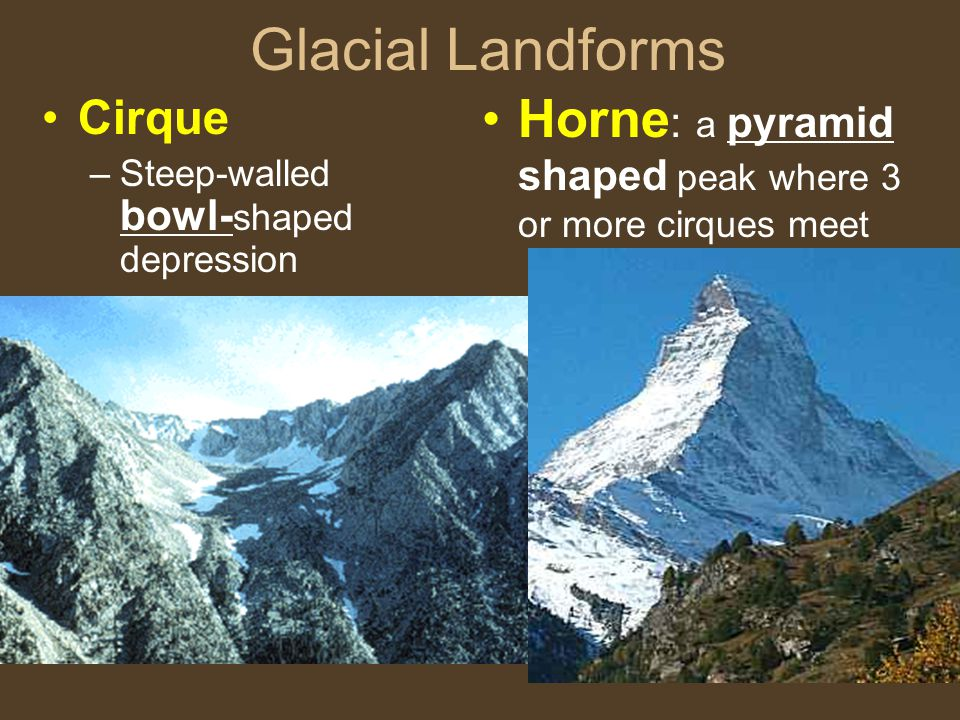 Glacial Landforms Horne: a pyramid shaped peak where 3 or more cirques meet.