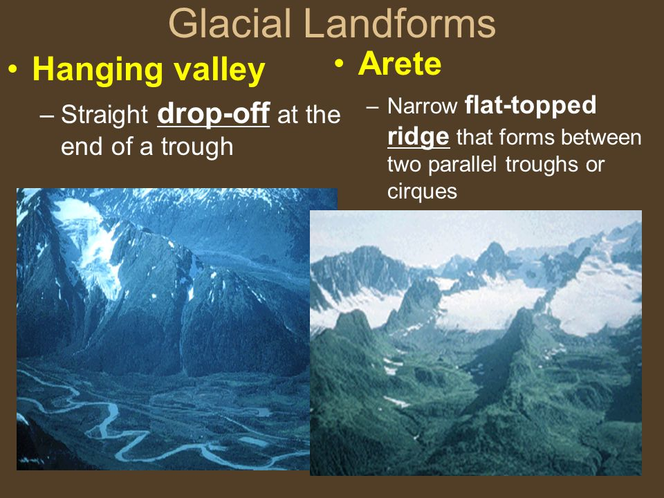 Glacial Landforms Arete Hanging valley