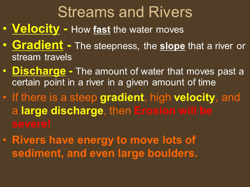 Streams and Rivers Velocity - How fast the water moves