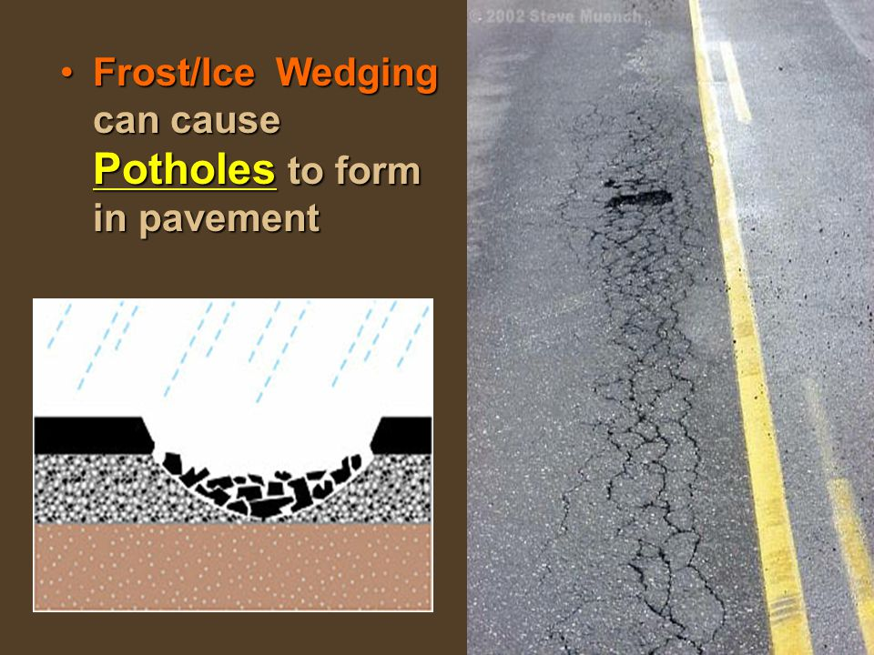 Frost/Ice Wedging can cause Potholes to form in pavement