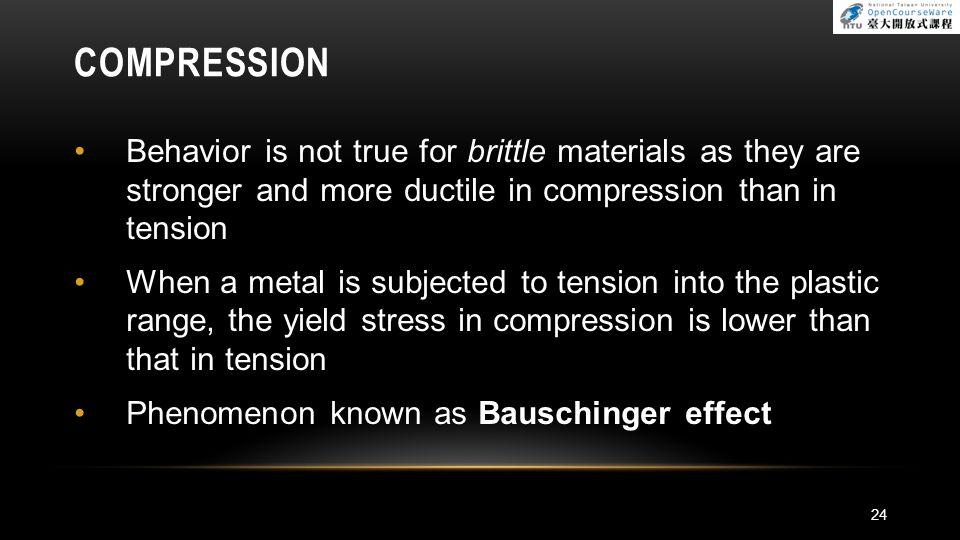 COMPRESSION Behavior is not true for brittle materials as they are stronger and more ductile in compression than in tension.