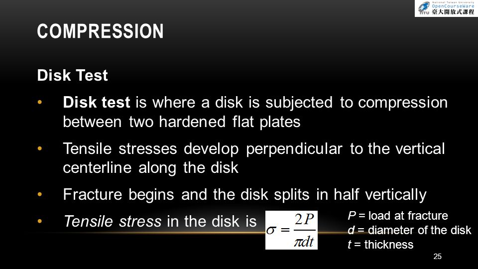 COMPRESSION Disk Test. Disk test is where a disk is subjected to compression between two hardened flat plates.