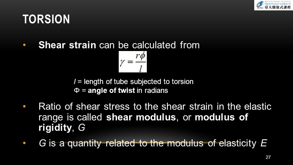TORSION Shear strain can be calculated from