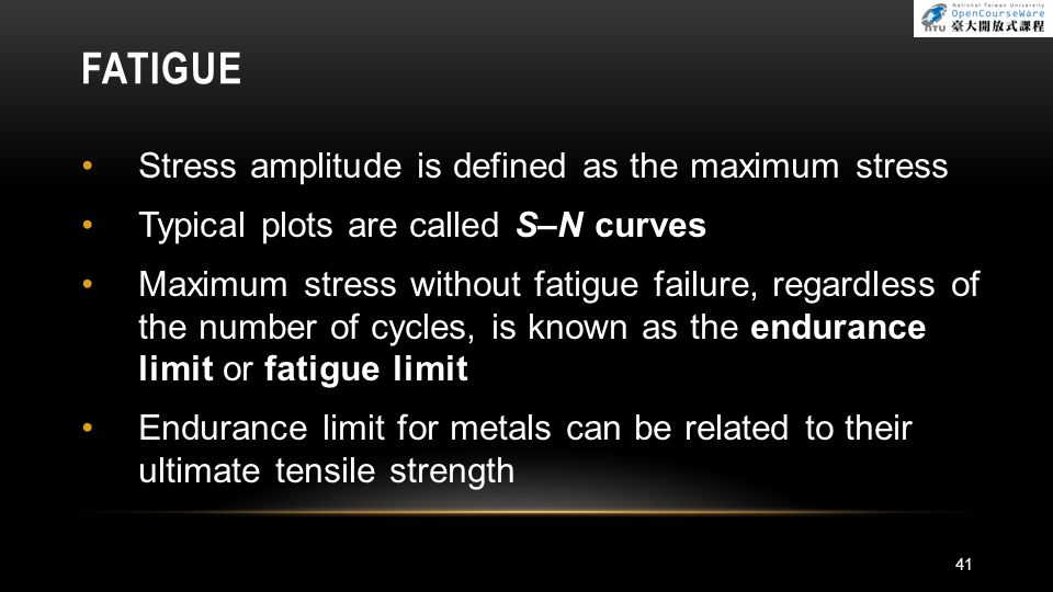 FATIGUE Stress amplitude is defined as the maximum stress