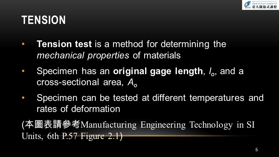 TENSION Tension test is a method for determining the mechanical properties of materials.