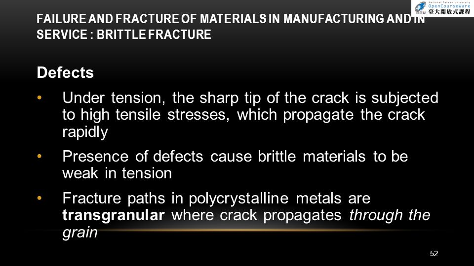 Presence of defects cause brittle materials to be weak in tension