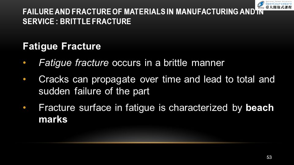 Fatigue fracture occurs in a brittle manner