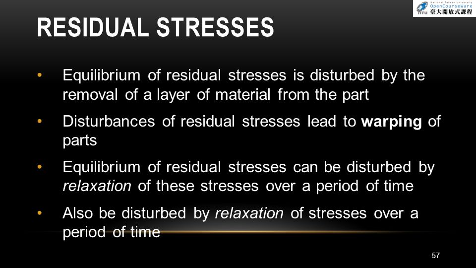 RESIDUAL STRESSES Equilibrium of residual stresses is disturbed by the removal of a layer of material from the part.