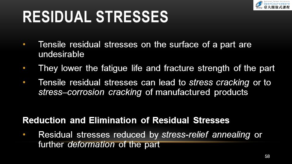 RESIDUAL STRESSES Tensile residual stresses on the surface of a part are undesirable. They lower the fatigue life and fracture strength of the part.