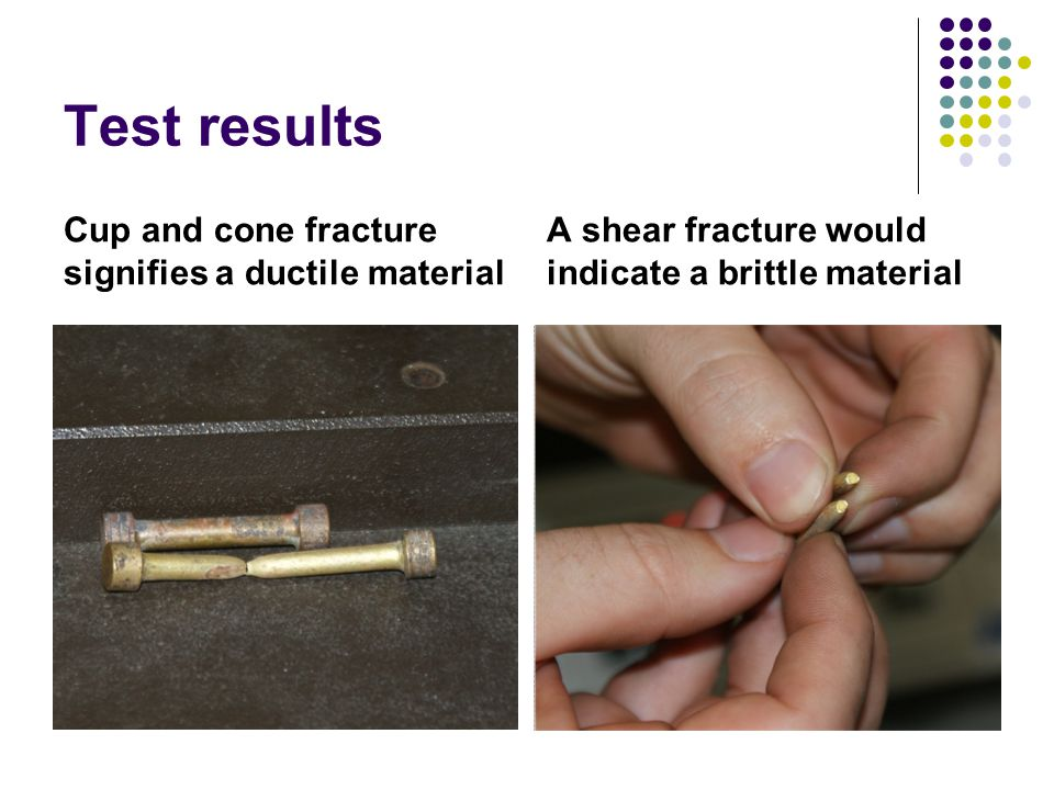 Test results Cup and cone fracture signifies a ductile material