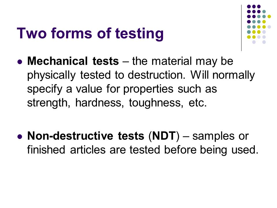 Two forms of testing