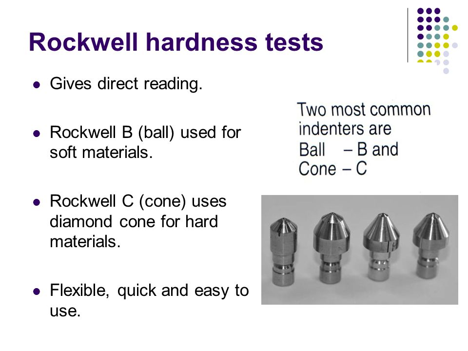 Rockwell hardness tests