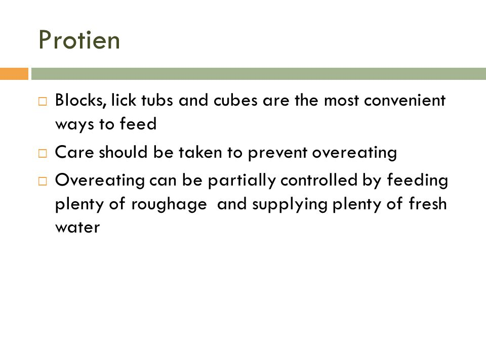Protien Blocks, lick tubs and cubes are the most convenient ways to feed. Care should be taken to prevent overeating.