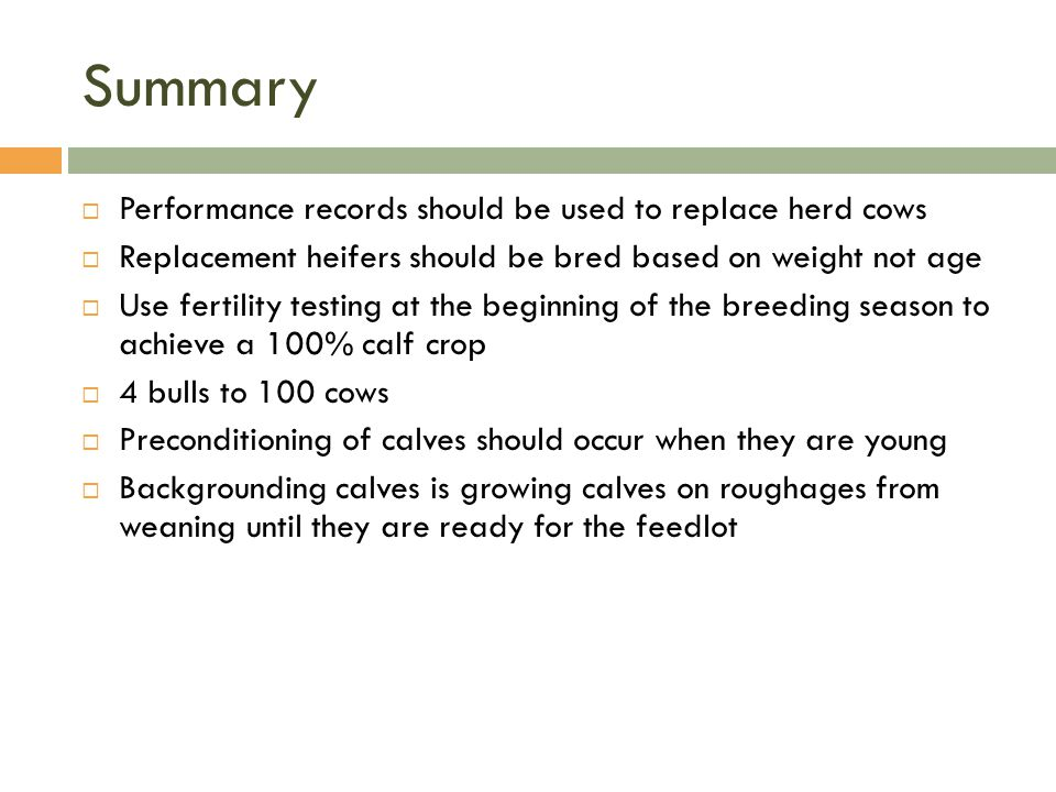 Summary Performance records should be used to replace herd cows