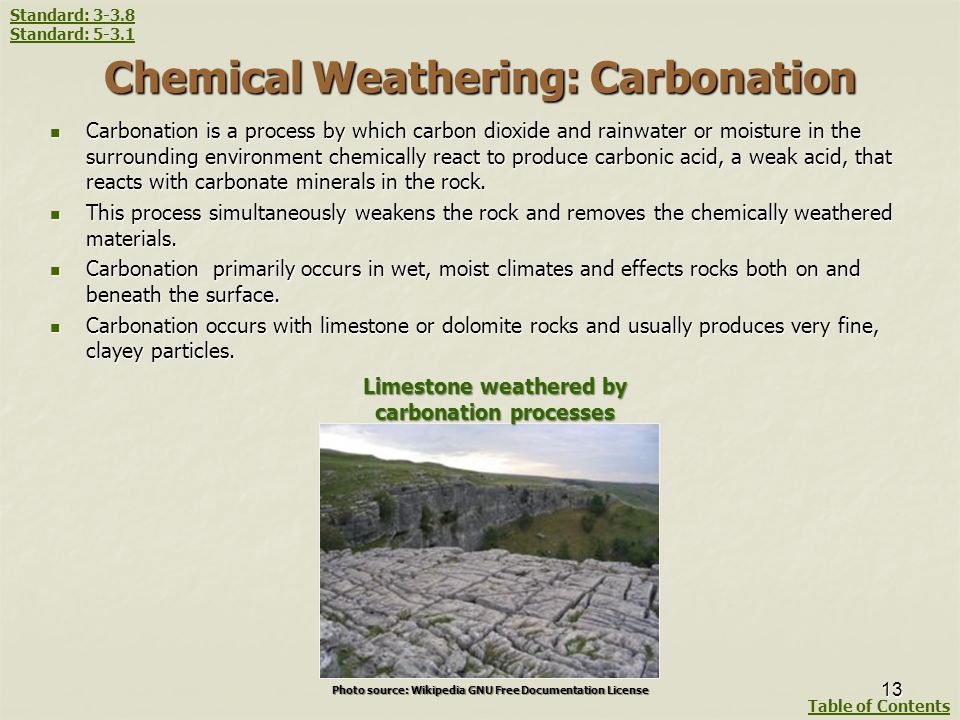 Chemical Weathering: Carbonation