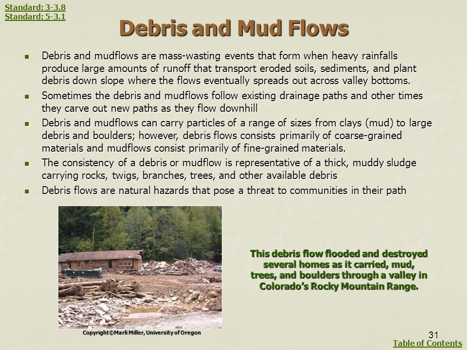 Standard: 3-3.8 Standard: 5-3.1. Debris and Mud Flows.