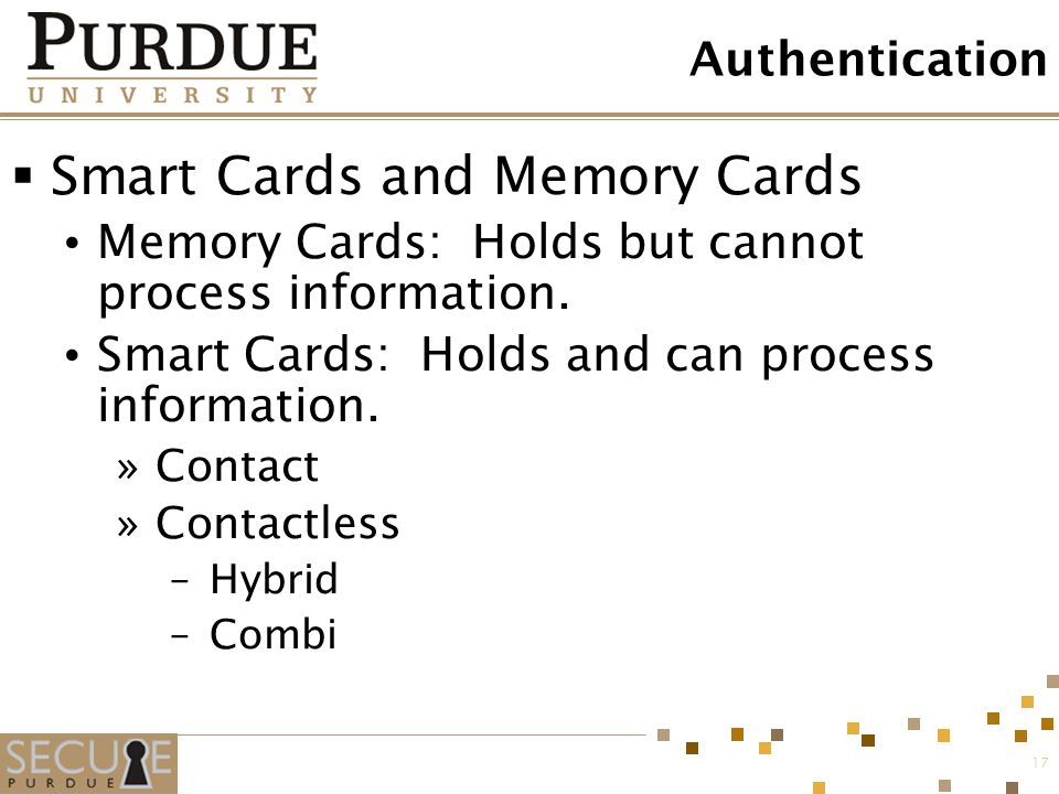 Smart Cards and Memory Cards