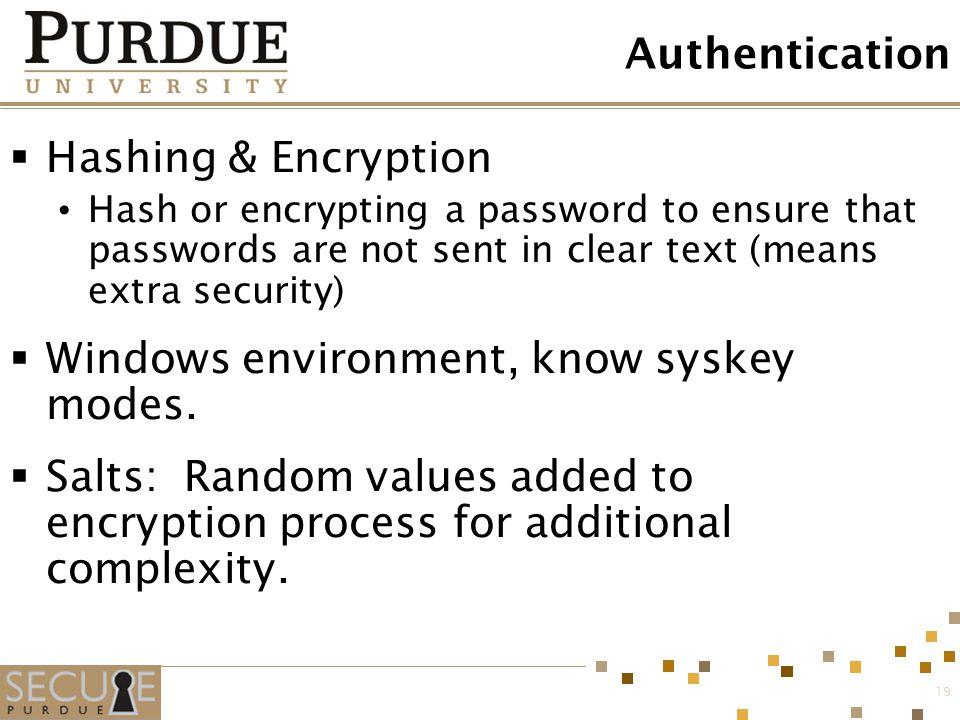 Windows environment, know syskey modes.