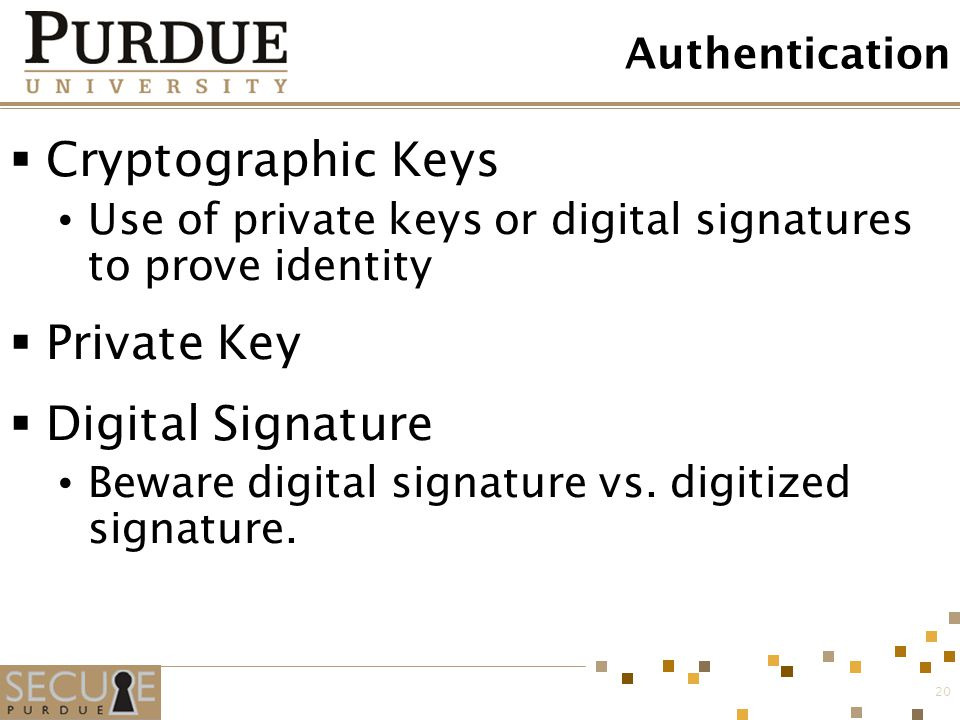 Cryptographic Keys Private Key Digital Signature Authentication