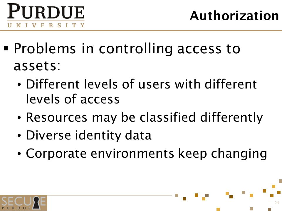 Problems in controlling access to assets: