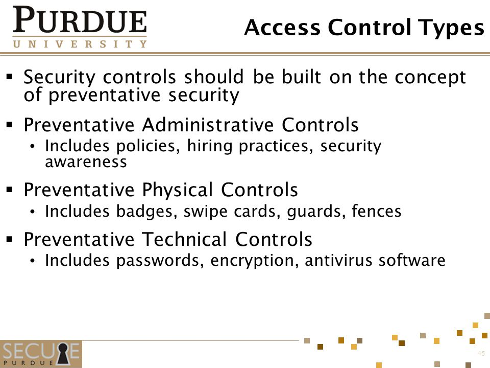 Access Control Types Security controls should be built on the concept of preventative security. Preventative Administrative Controls.