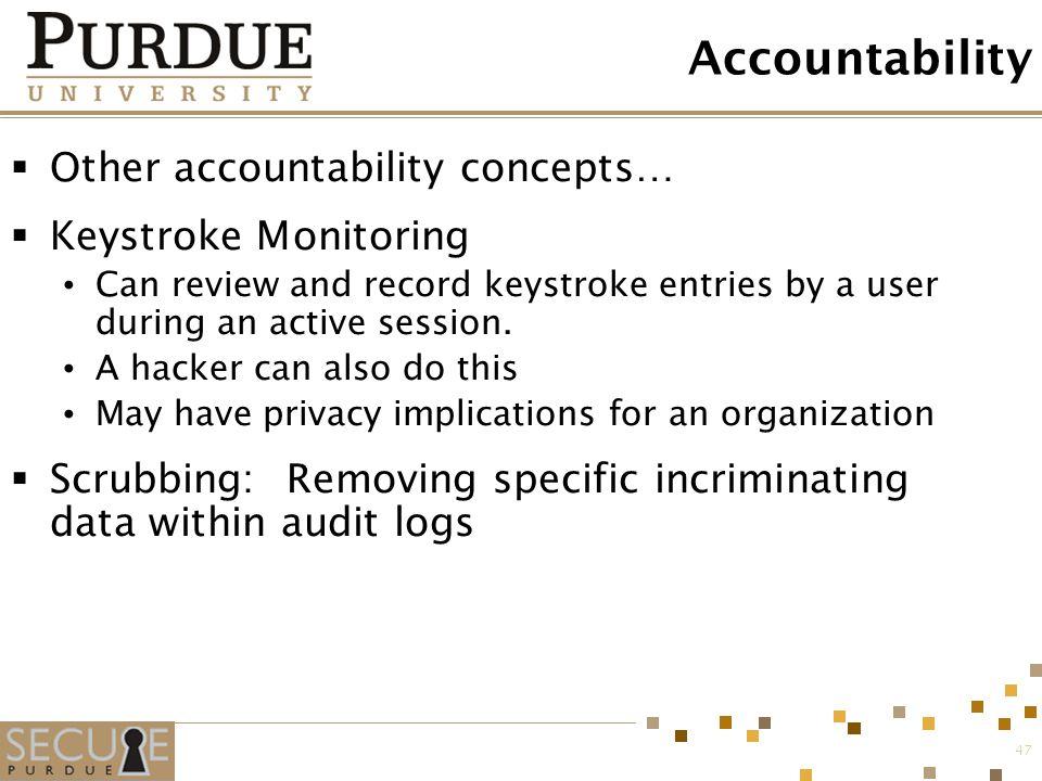 Accountability Other accountability concepts… Keystroke Monitoring