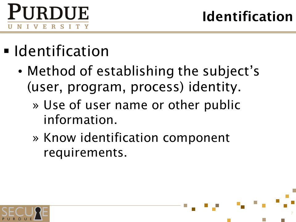 Identification Identification