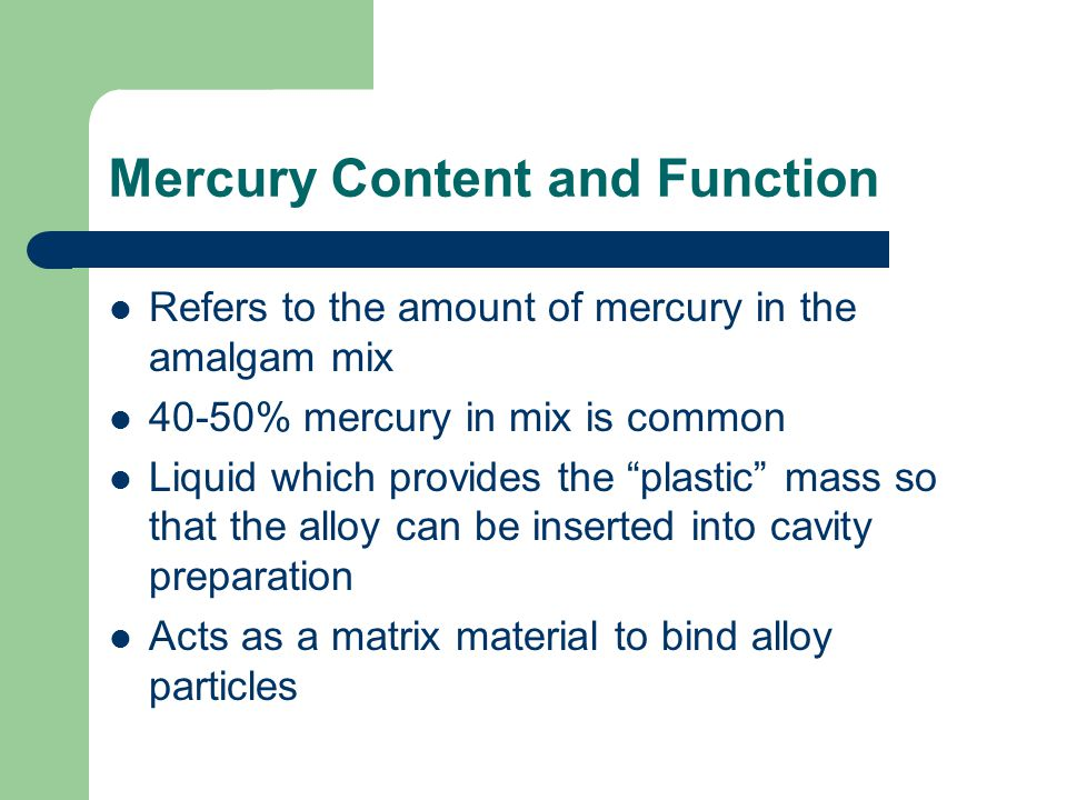 Mercury Content and Function