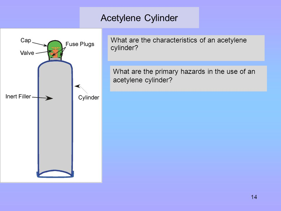 Acetylene Cylinder What are the characteristics of an acetylene cylinder What are the primary hazards in the use of an acetylene cylinder
