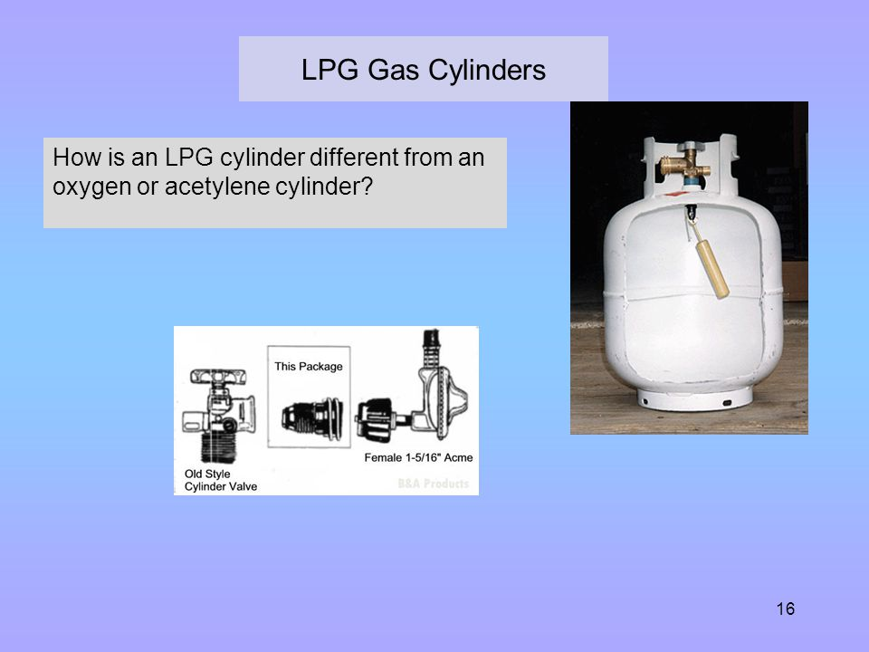 LPG Gas Cylinders How is an LPG cylinder different from an oxygen or acetylene cylinder Simpler hollow steel containers.
