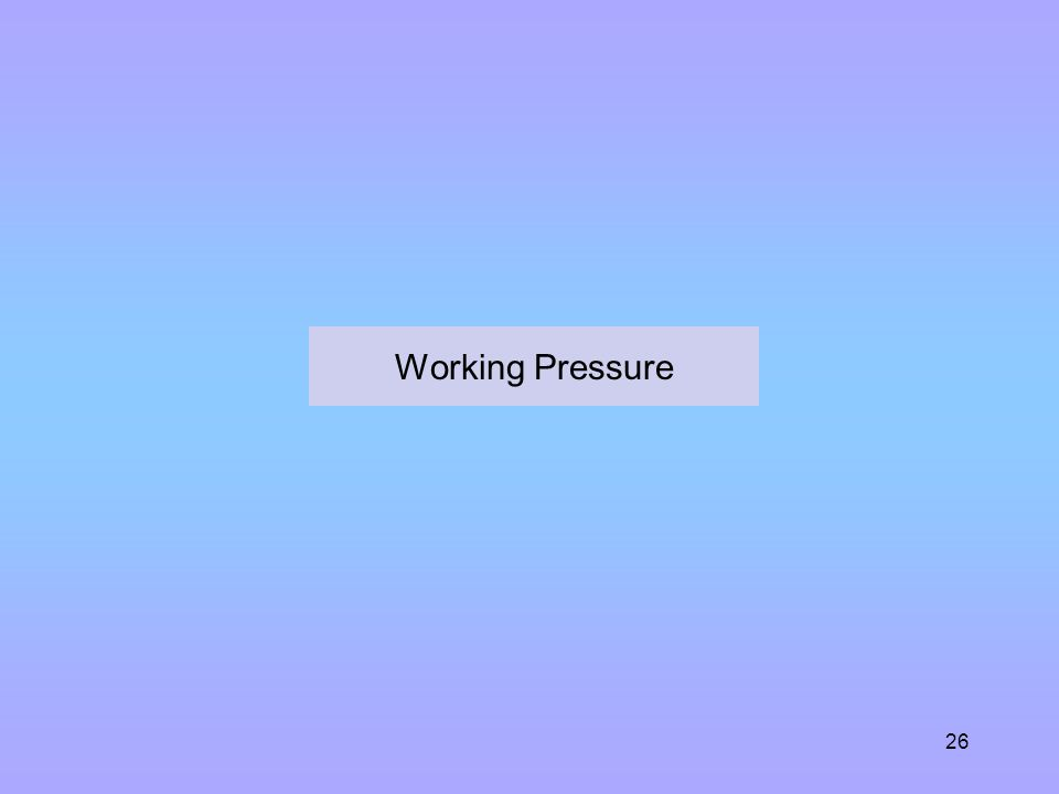 Working Pressure