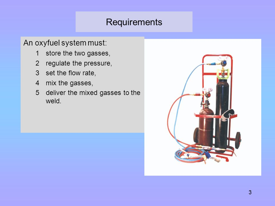 Requirements An oxyfuel system must: store the two gasses,