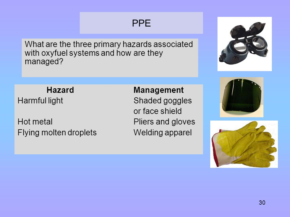 PPE What are the three primary hazards associated with oxyfuel systems and how are they managed Hazard Management.
